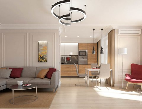 Дизайн интерьера трехкомнатной квартиры в ЖК Малевич