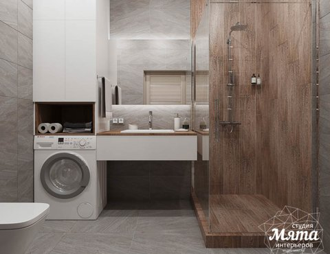 Дизайн интерьера ванных комнат двухуровневой квартиры в ЖК Современник